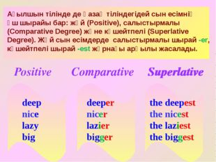 the deepest the nicest the laziest the biggest deeper nicer lazier bigger de
