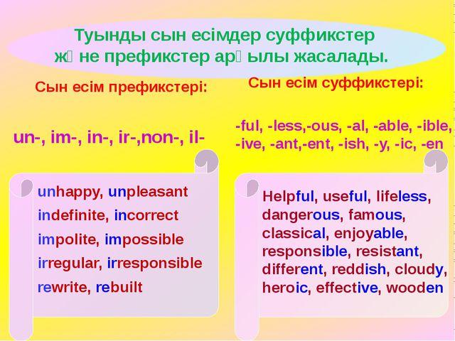 Туынды сын есімдер суффикстер және префикстер арқылы жасалады. unhappy, unpl...