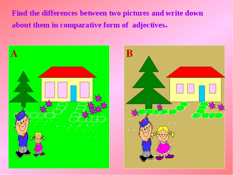 Find the differences between two pictures and write down about them in compa...