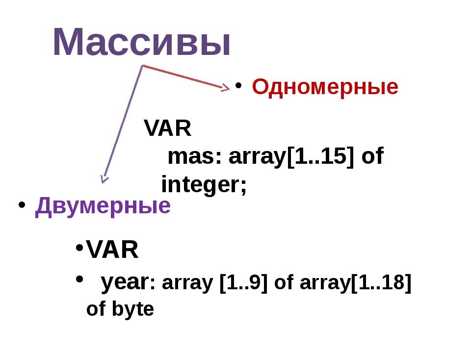 Массивы Одномерные Двумерные VAR year: array [1..9] of array[1..18] of byte V...