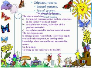 The aims of the party: The aims of the lesson: The educational aim: Forming o