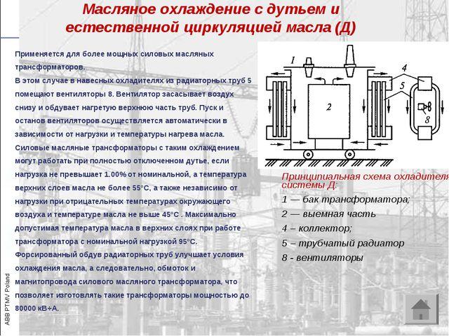 Принципиальная схема охладителя системы Д: 1 — бак трансформатора; 2 — выемна...