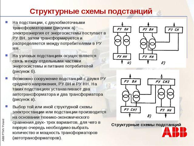 Структурные схемы подстанций На подстанции, с двухобмоточными трансформаторам...