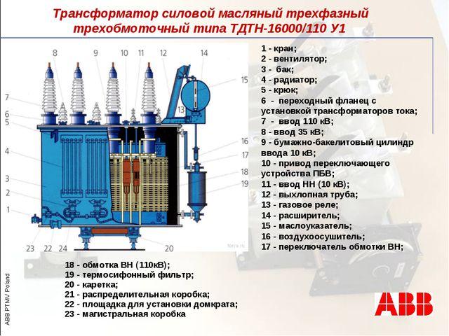 Трансформатор силовой масляный трехфазный трехобмоточный типа ТДТН-16000/110...