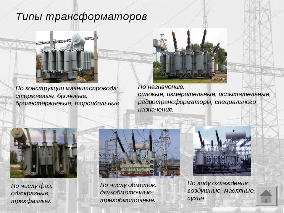 Типы трансформаторов По конструкции магнитопровода: стержневые, броневые, бро...