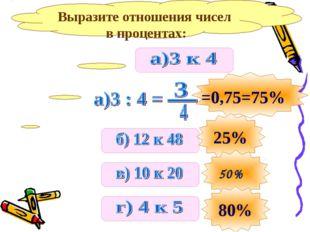 Выразите отношения чисел в процентах: 25% 80%