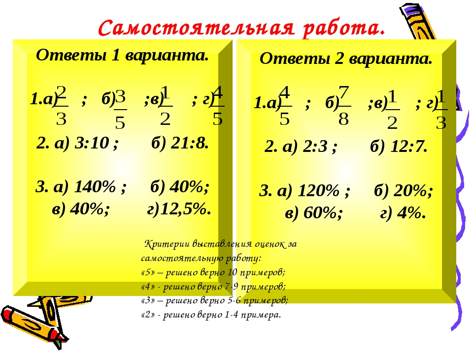 Самостоятельная работа. Ответы 1 варианта. 1.а) ; б) ;в) ; г) 2. а) 3:10 ; б...