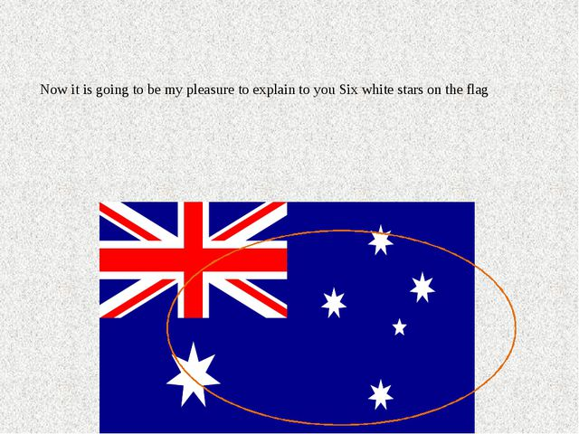 Now it is going to be my pleasure to explain to you Six white stars on the flag