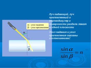 Луч падающий, луч преломленный и перпендикуляр к поверхности раздела лежат в