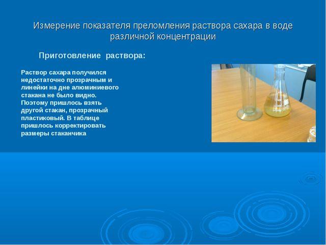Измерение показателя преломления раствора сахара в воде различной концентраци...