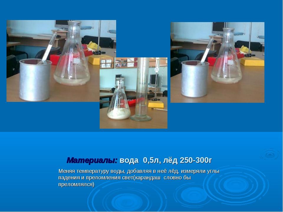 Материалы: вода 0,5л, лёд 250-300г Меняя температуру воды, добавляя в неё лёд...
