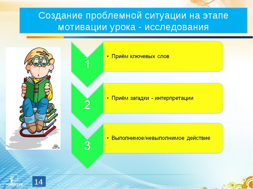 * Создание проблемной ситуации на этапе мотивации урока - исследования