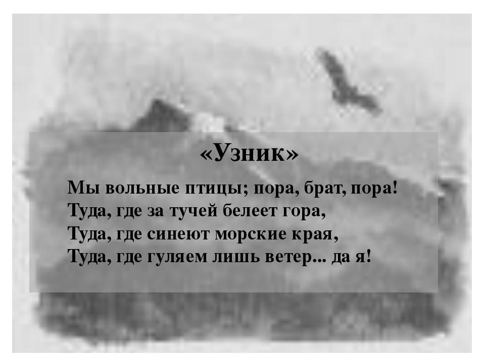 «Узник» Мы вольные птицы; пора, брат, пора! Туда, где за тучей белеет гора,...