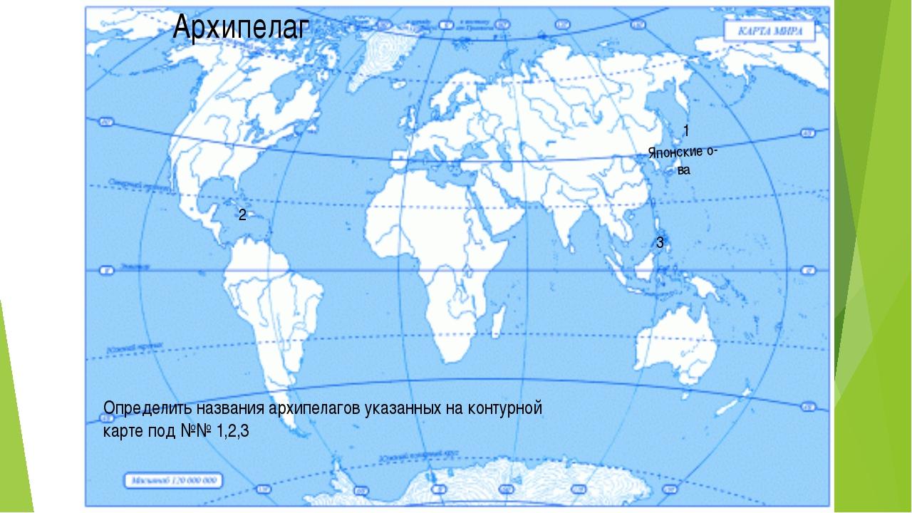 Архипелаг Японские о-ва 1 2 3 Определить названия архипелагов указанных на ко...