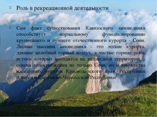 Роль в рекреационной деятельности Сам факт существования Кавказского заповедн