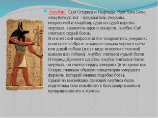 Анубис Сын Осириса и Нефтиды, брат бога Баты, отец Кебхут. Бог - покровитель