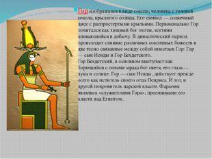 Гор изображался в виде сокола, человека с головой сокола, крылатого солнца. Е