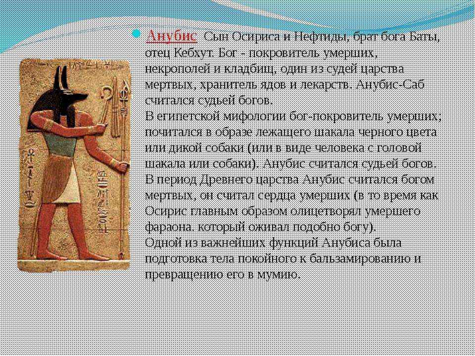 Анубис Сын Осириса и Нефтиды, брат бога Баты, отец Кебхут. Бог - покровитель...