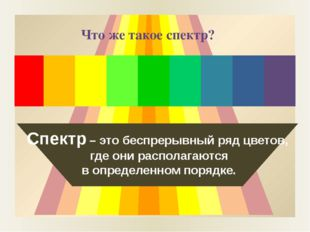 Спектр – это беспрерывный ряд цветов, где они располагаются в определенном п