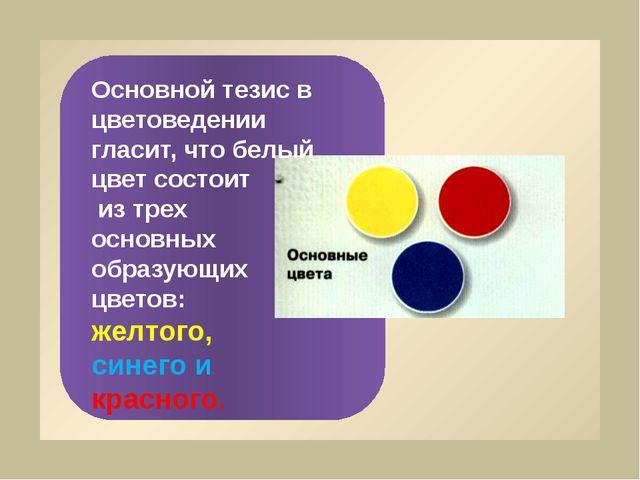 Основной тезис в цветоведении гласит, что белый цвет состоит из трех основны...