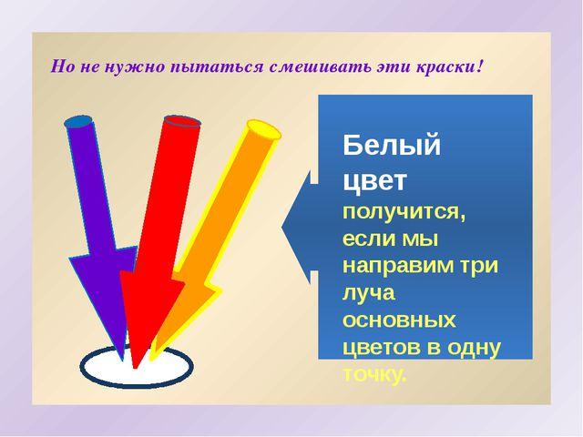 Белый цвет получится, если мы направим три луча основных цветов в одну точку...