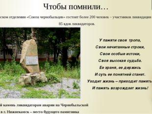 Памятный камень ликвидаторам аварии на Чернобыльской АЭС в г. Нижнекамск – ме
