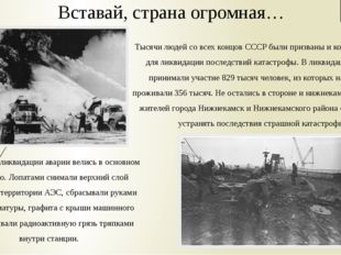 Тысячи людей со всех концов СССР были призваны и командированы для ликвидации