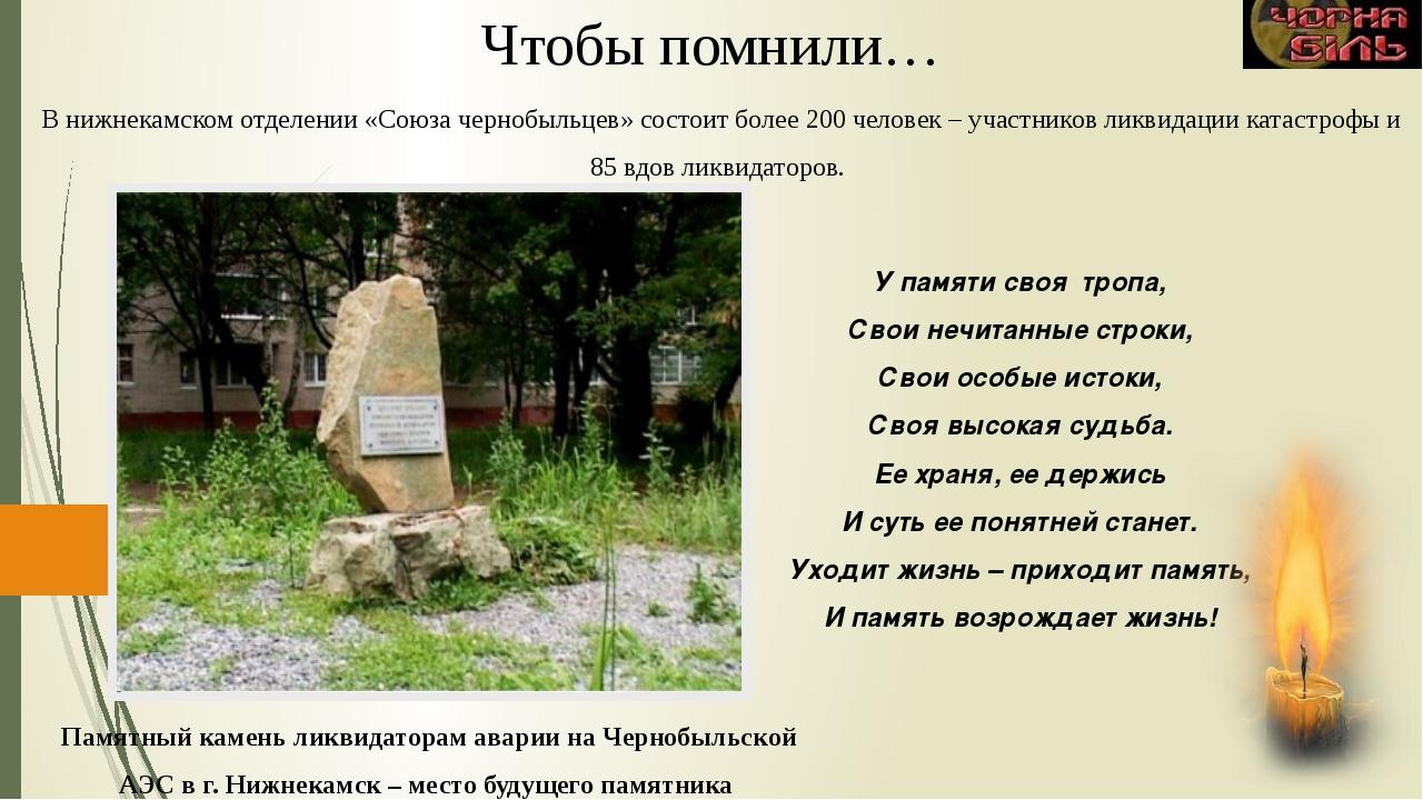 Памятный камень ликвидаторам аварии на Чернобыльской АЭС в г. Нижнекамск – ме...
