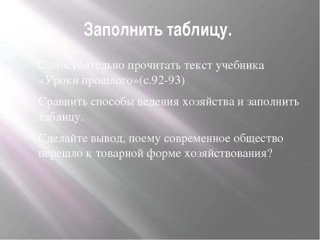 Заполнить таблицу. Самостоятельно прочитать текст учебника «Уроки прошлого»(с...