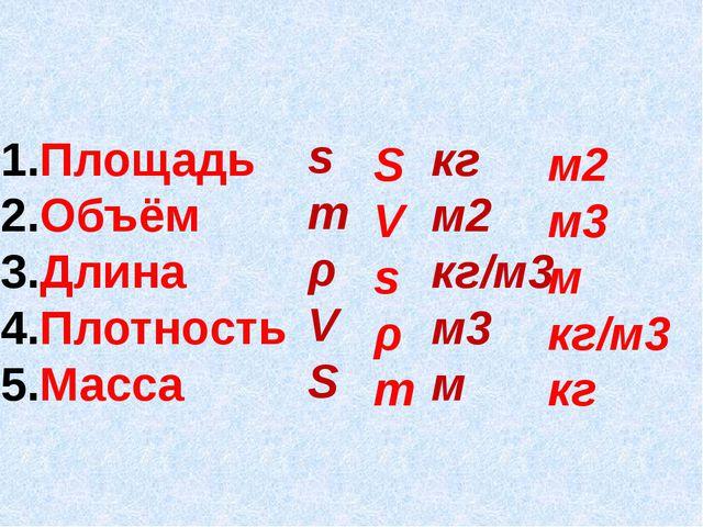 Площадь Объём Длина Плотность Масса s m ρ V S кг м2 кг/м3 м3 м S V s ρ m м2 м...