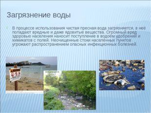 Загрязнение воды В процессе использования чистая пресная вода загрязняется, в