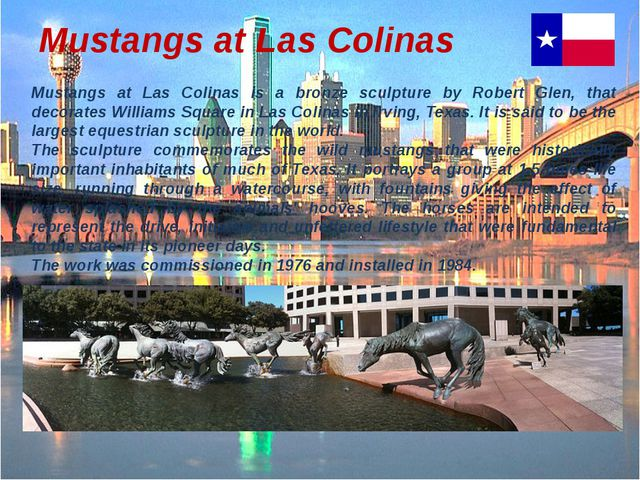 Mustangs at Las Colinas Mustangs at Las Colinas is a bronze sculpture by Robe...