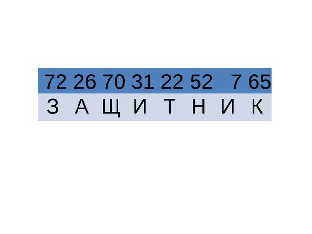 ? ? 72 26 70 31 22 52 7 65 З А Щ И Т Н И К