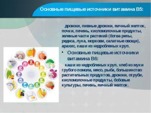Основные пищевые источники витамина В5: дрожжи, пивные дрожжи, яичный желток,