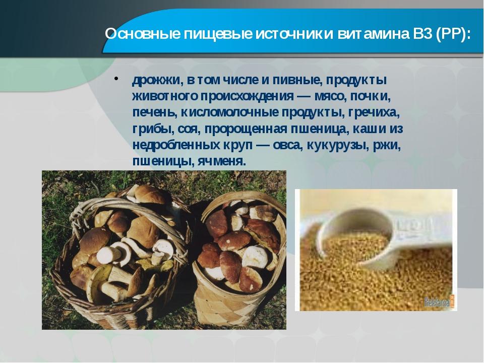Основные пищевые источники витамина В3 (PP): дрожжи, в том числе и пивные, пр...