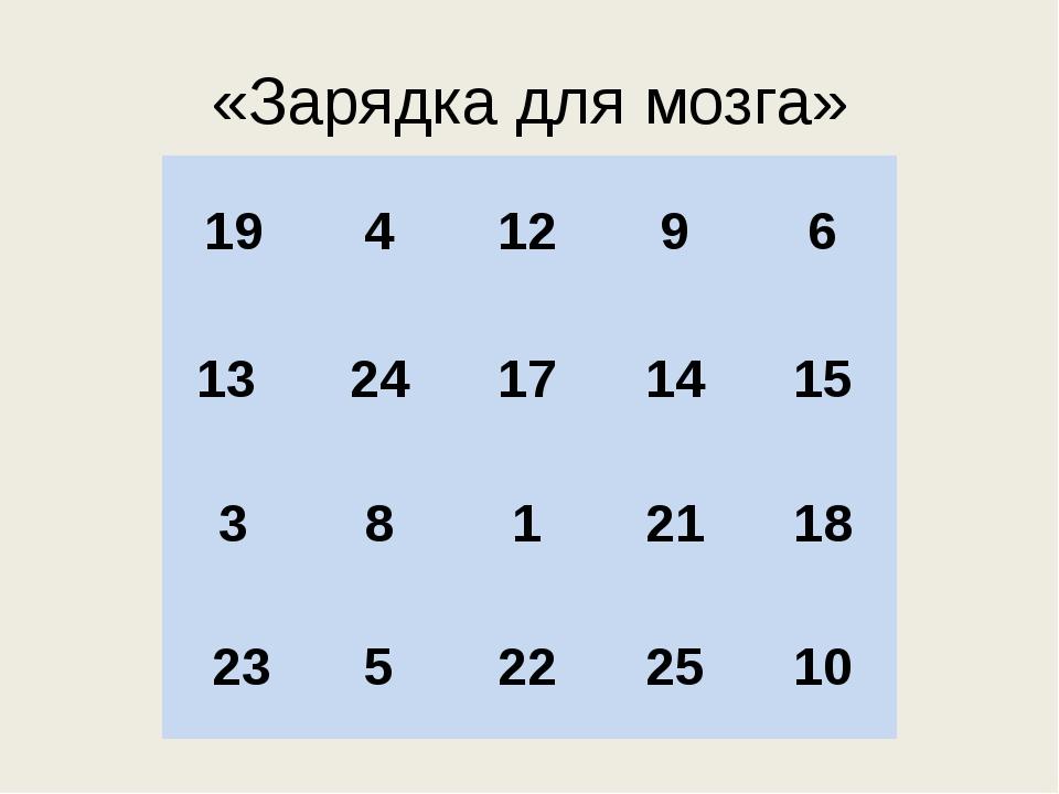 «Зарядка для мозга» 19 4 12 9 6 13 24 17 14 15 3 8 1 21 18 23 5 22 25 10