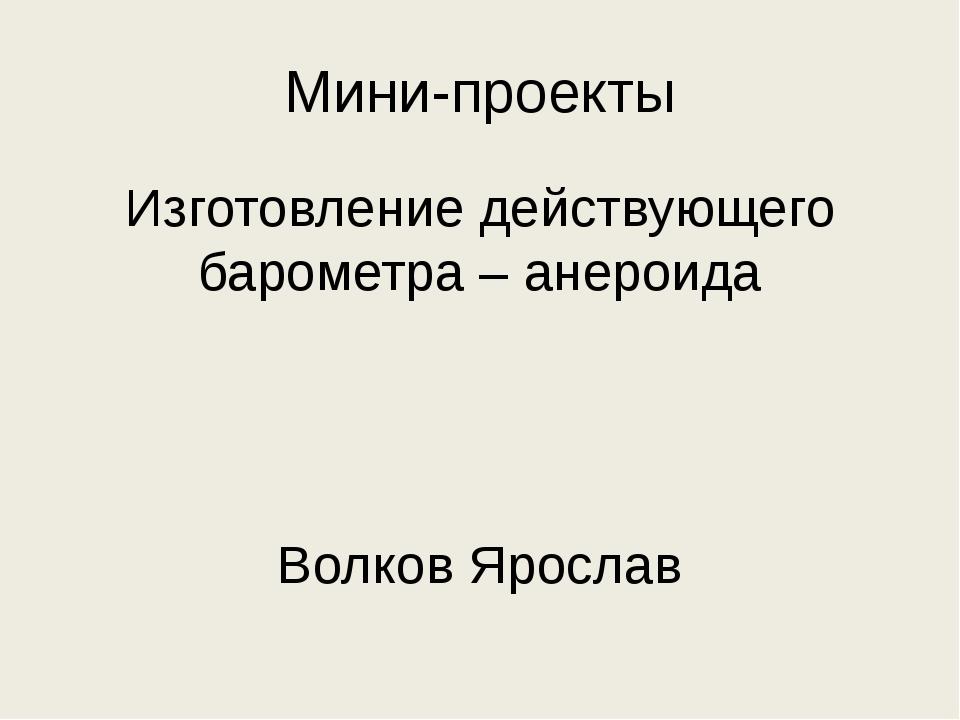 Мини-проекты Изготовление действующего барометра – анероида Волков Ярослав