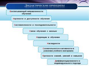 Научности и доступности обучения Систематичности и последовательности Ко