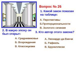 Вопрос № 26 1. Какой закон показан на таблице: А. Перспективы Б.Пропорциональ