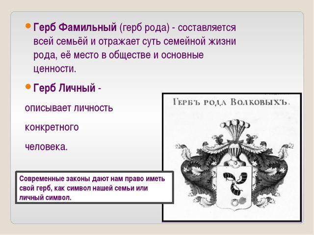 Герб Фамильный(герб рода) - составляется всей семьёй и отражает суть семейно...