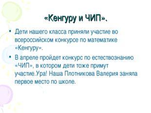 «Кенгуру и ЧИП». Дети нашего класса приняли участие во всероссийском конкурсе