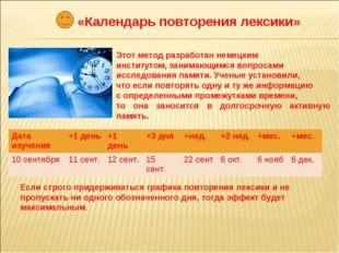 «Календарь повторения лексики» Этот метод разработан немецким институтом, зан