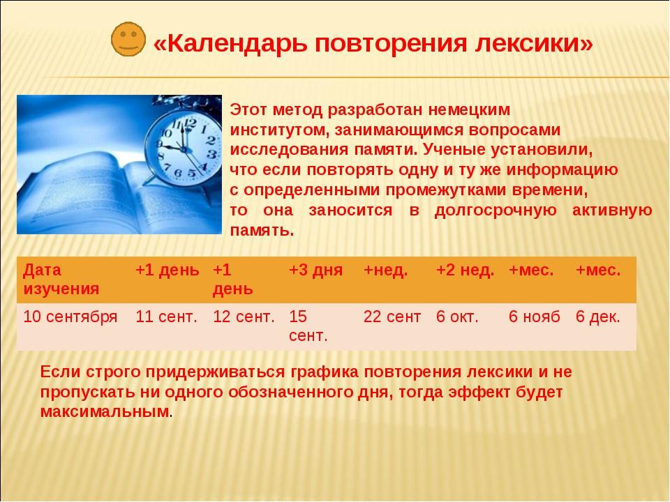 «Календарь повторения лексики» Этот метод разработан немецким институтом, зан...
