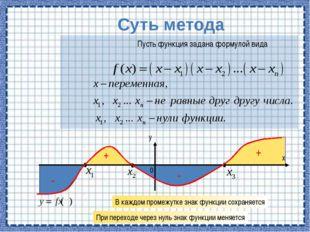 Суть метода Пусть функция задана формулой вида + + - - В каждом промежутке з