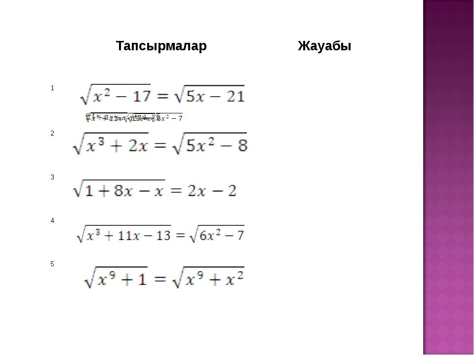 ТапсырмаларЖауабы 1 2 3 4 5