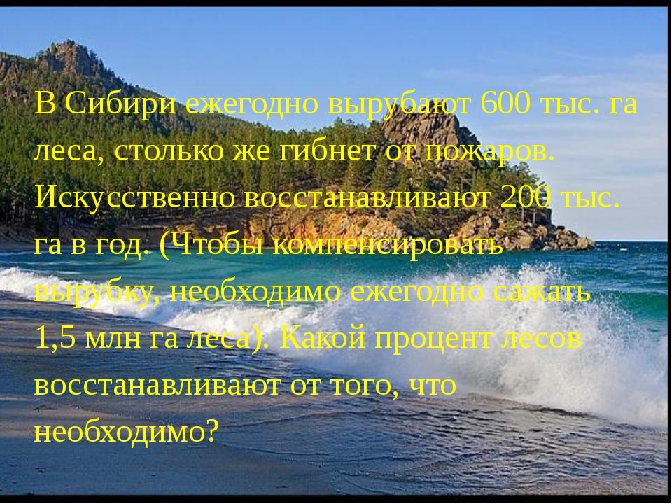 В Сибири ежегодно вырубают 600 тыс. га леса, столько же гибнет от пожаров. Ис...