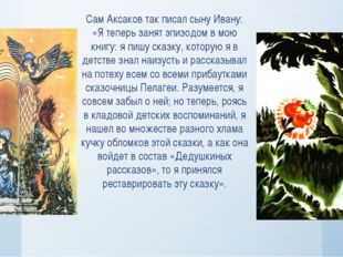 Сам Аксаков так писал сыну Ивану: «Я теперь занят эпизодом в мою книгу: я пиш