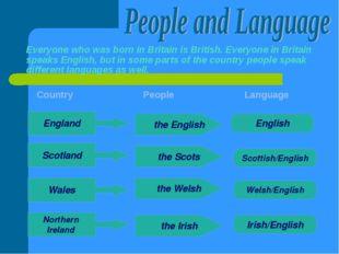 Everyone who was born in Britain is British. Everyone in Britain speaks Engli