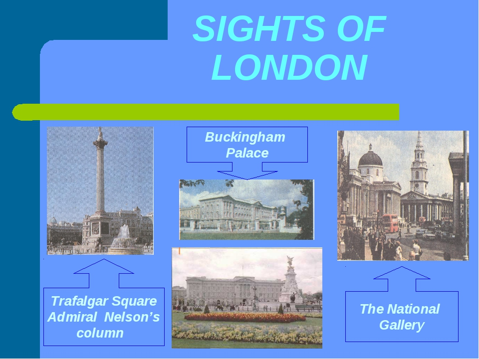 SIGHTS OF LONDON Trafalgar Square Admiral Nelson's column Buckingham Palace T...