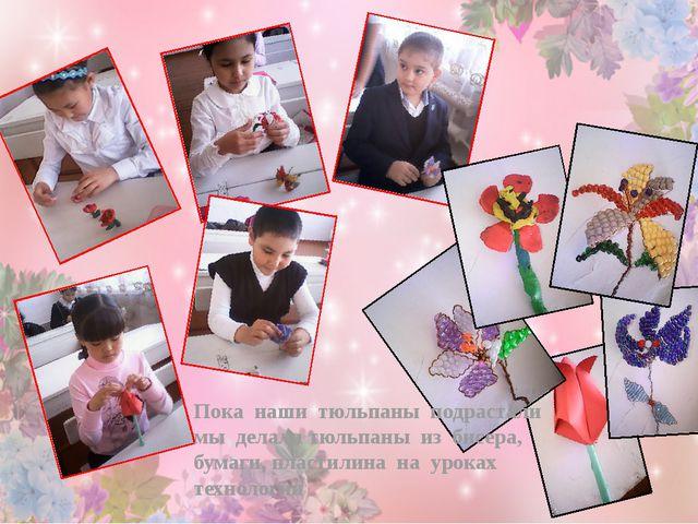 Пока наши тюльпаны подрастали мы делали тюльпаны из бисера, бумаги, пластилин...